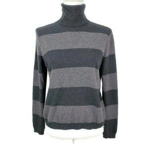 Theory Wool Cashmere Striped Turtleneck Sweater S